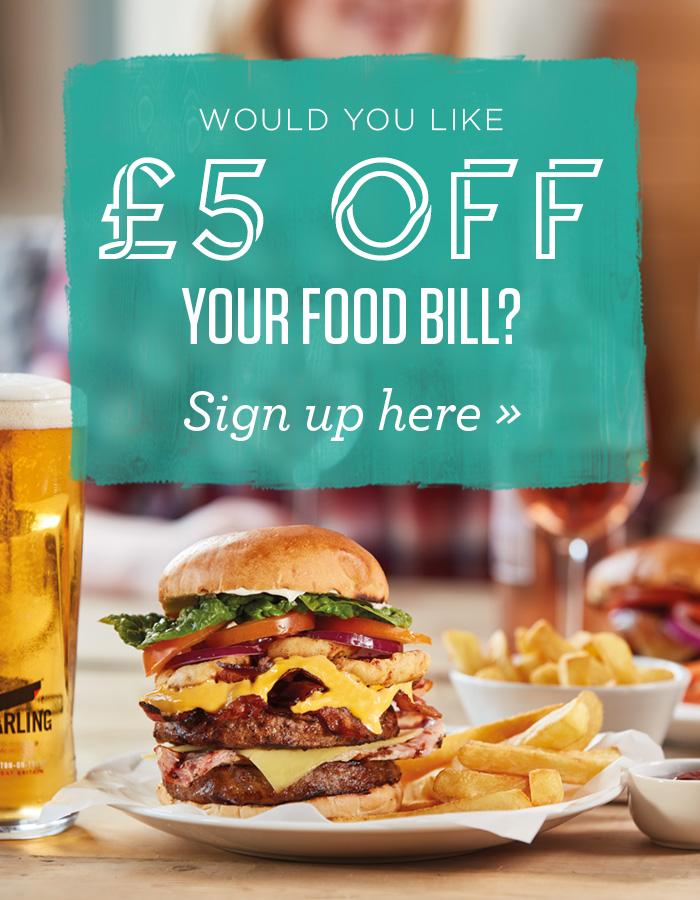Sign up to our newsletter for £5 off your next food bill