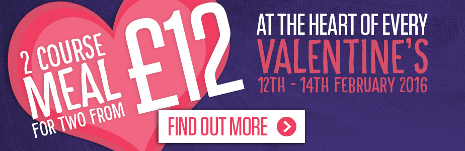 Valentine's Day at Sizzling - get a 2 course meal from £12.99
