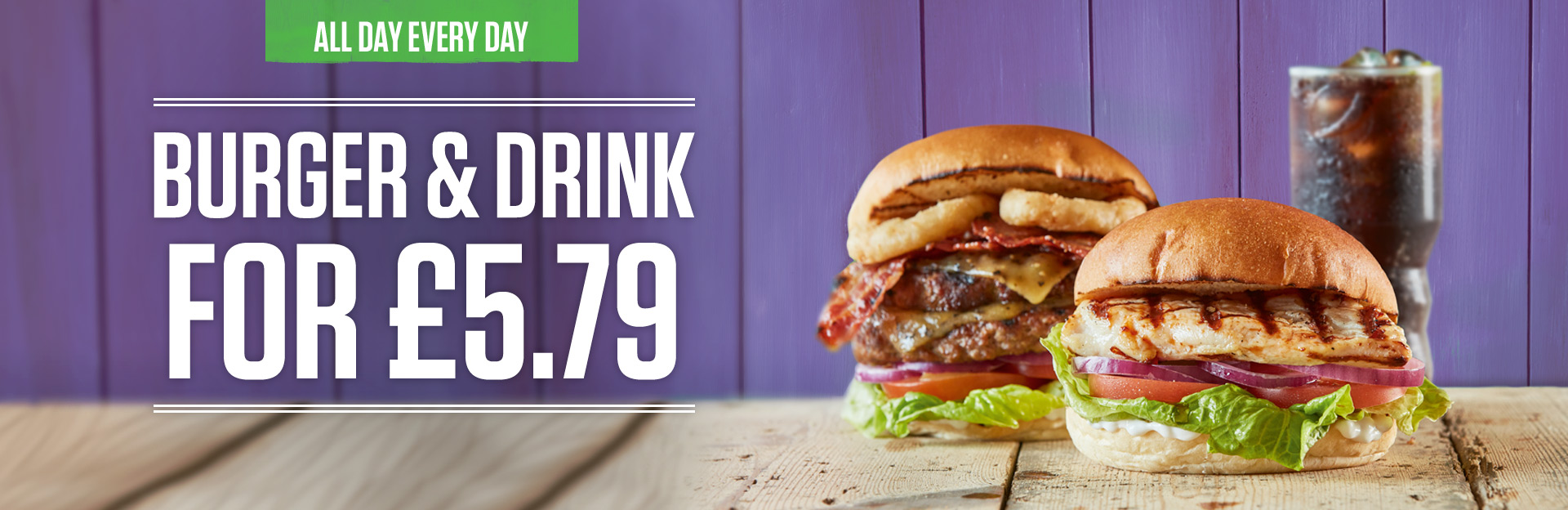 Burger and Drink Deal at Weavers Mill