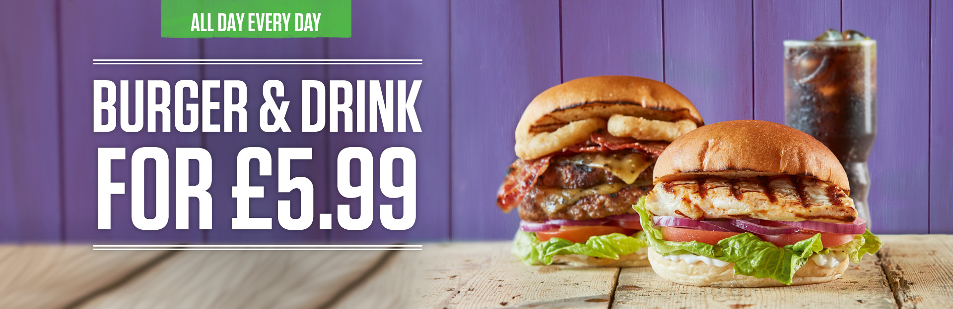 Burger and Drink Deal at The General Roy