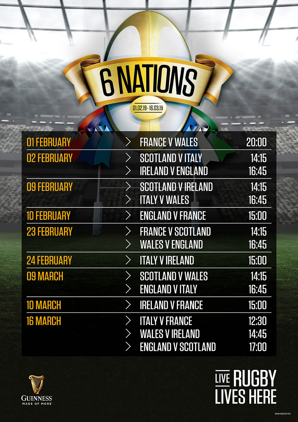 Six Nations Fixtures at Sizzling