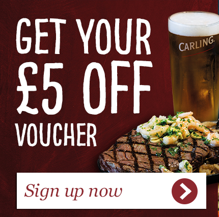 Enjoy £5 off all food, Sign up now