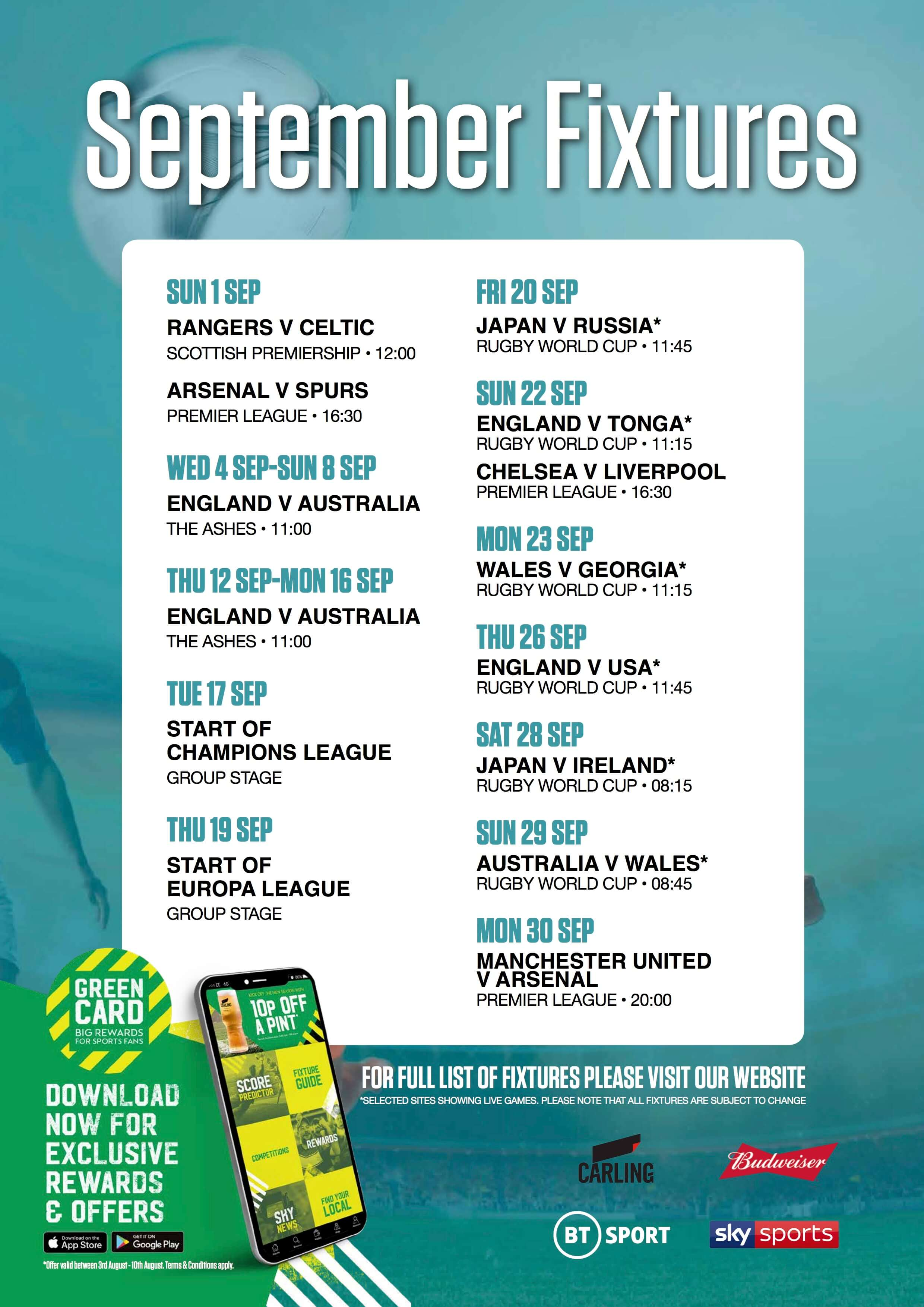 Live sports fixtures in January at The Treacle Mine